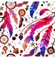 ethnic feather seamless pattern in boho style vector image vector image