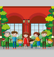 family members in front of the building vector image