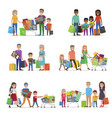 family out on shopping set children and parents vector image vector image