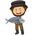 Fisherman holding raw fish vector image vector image