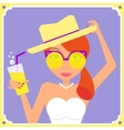Flat redhair woman wearing yellow retro sunglasses vector image