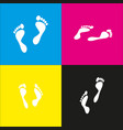 foot prints sign white icon with vector image vector image
