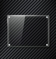 Glass signboard on the surface of carbon fiber vector image vector image