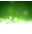 green Christmas card bokeh snowflakes vector image