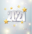 happy new year 2020 greeting card with silver vector image vector image