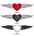 hearts with wings vector image