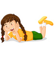 Little girl in yellow shirt smiling vector image vector image