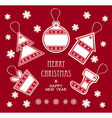 Merry Christmas and New Year labels in red color vector image vector image