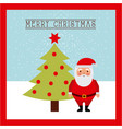 merry christmas card santa claus standing tree vector image