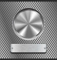 metal round button on stainless steel perforated vector image vector image