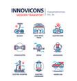 modern transport - line design icons set vector image