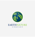 nature earth leaf planet logo icon vector image