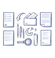 office papers and magnifying glass set vector image vector image