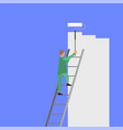 painter with roller painting wall worker on vector image