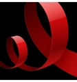 Red fabric glossy curved ribbon on black vector image vector image