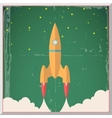 Retro Flat Design Rocket Start Space Stars vector image