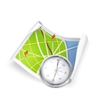 Road Map and compass vector image vector image
