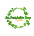 round frame with shamrock leaves over white vector image