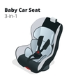 safety car seat for baby and kid isolated