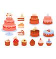 set of birthday cakes vector image