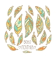Set of hand drawn colorful feathers isolated on vector image