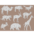 set of origami wild animal silhouettes vector image