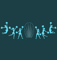 silhouettes of cheerleaders with pom-poms on dark vector image vector image