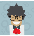 Smiled Man in glasses with flowers vector image