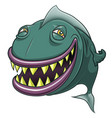 smiling happy cartoon fish isolated on white vector image vector image