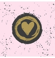 Stylish hand drawn ink heart stamp with ink splash vector image