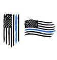 thin blue line us flag police blue line vector image