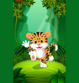 tiger in the clear and green forest vector image