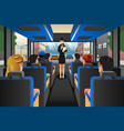 tour guide talking to tourists in a tour bus vector image vector image