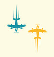 two airplane isolated colored objects vector image vector image