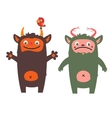 Two cute monsters vector image