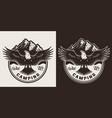 vintage camping season round badge vector image vector image