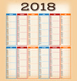 Vintage design calendar for year 2018 vector image