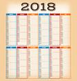 vintage design calendar for year 2018 vector image