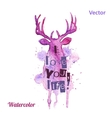 Watercolor deer head with inscriptions on the vector image vector image