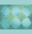 white ornament on the green background golden vector image