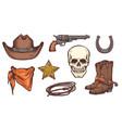 wild west symbol drawing set - cowboy hat boots vector image vector image