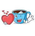 with heart tea cup mascot cartoon vector image vector image