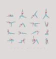 yoga asanas pen line beige vector image