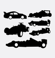 Race car and transportation silhouette vector image