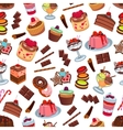 Cakes and patisserie desserts seamless pattern vector image