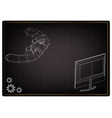 3d model of joystick and monitor on a black vector image vector image