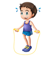 A young man playing with the skipping rope vector image vector image