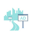 advertising and skyscrapers big city isolated vector image