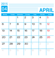 April 2015 calendar page template vector image