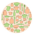 beige and green kitchenware on circle background vector image